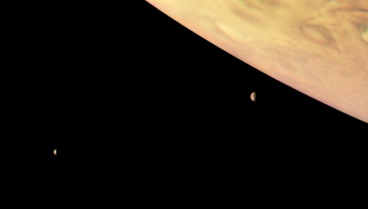 Новые изображения Юпитера и 2-х его спутников опубликовало НАСА